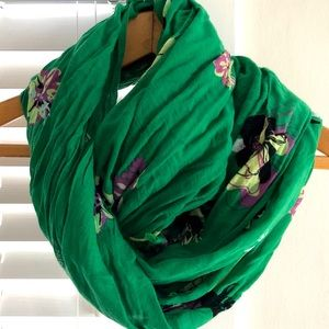Anthropologie Green Floral Scarf